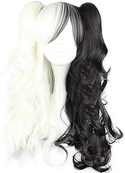 Ilovcomic Danganronpa Cosplay Monokuma - Peluca larga, color negro y blanco: Amazon.es: Belleza