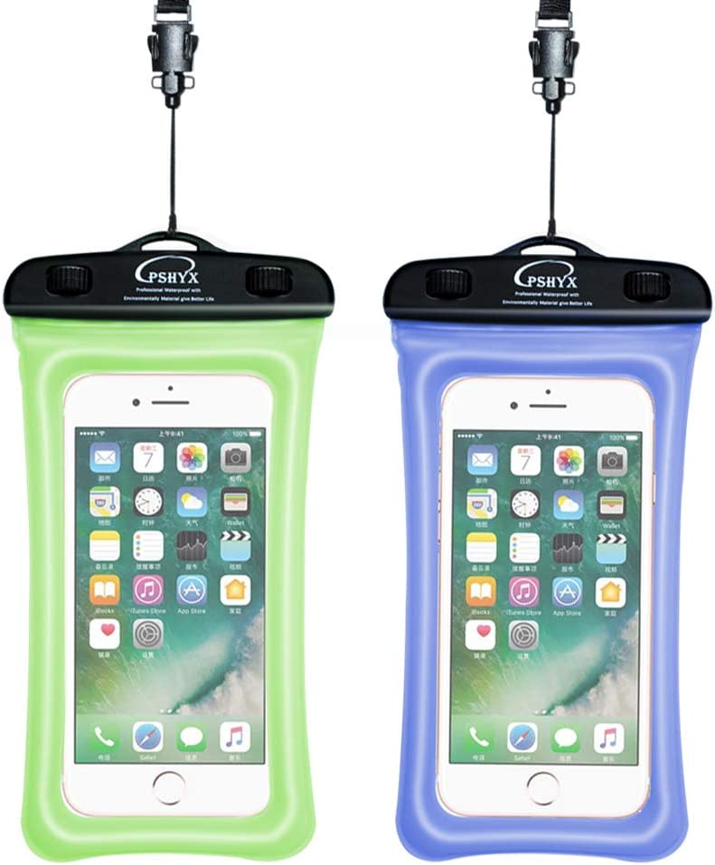 PSHYX 081 Universal 100 Feet Waterproof Phone Pouch Waterproof Bag with Inflatable Ring Compatible for iPhone Samsung Google Motorola LG Phone up to 7 Inch Blue and Black, Pack of 2