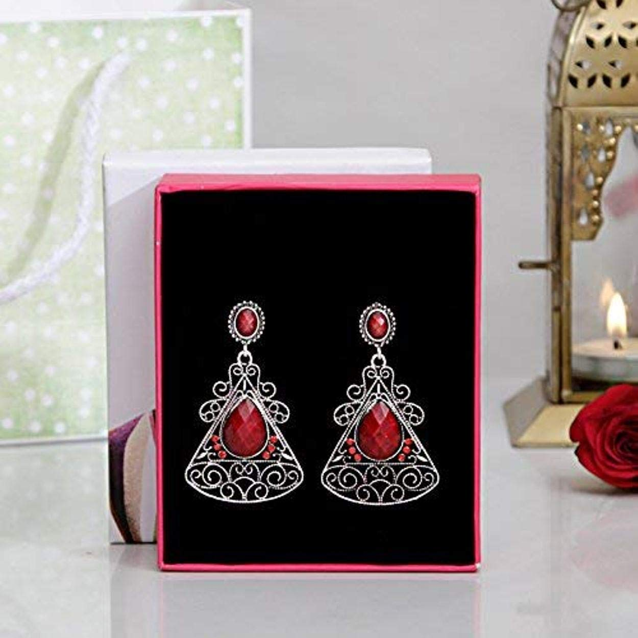 TOKENZ Shimmering Oxidised Silver Red Stone Studded Fashion Earrings For Women And Girls