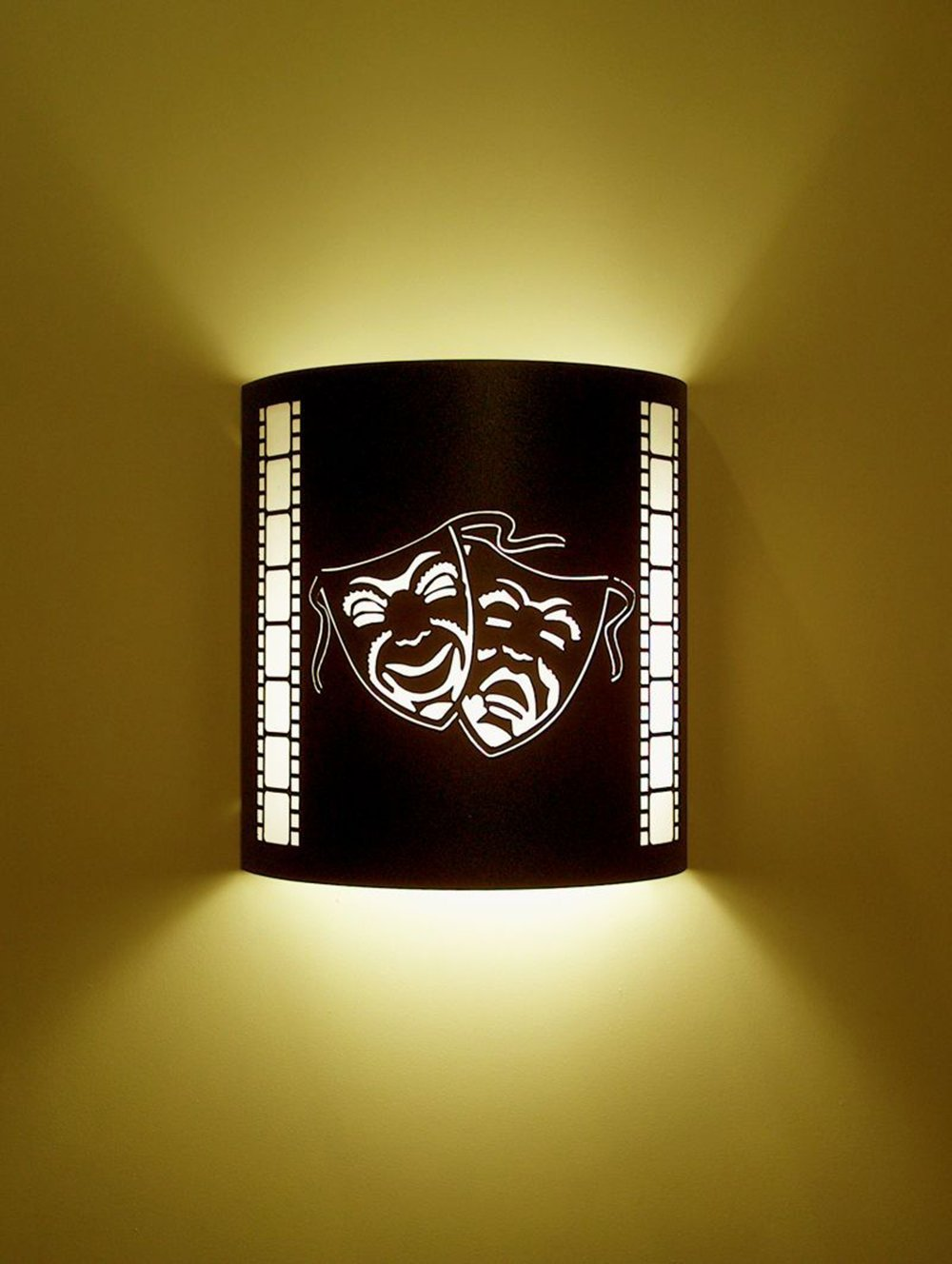 Comedy and Tragedy - Black Home Movie Theater Sconces w/ Filmstrips