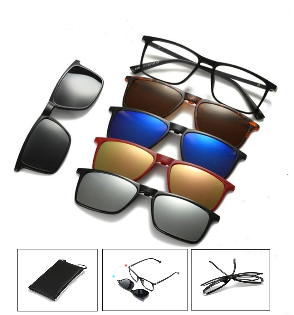 Life Needs A Surprise | Five-in-one magnetic glasses | 5 sunglasses clip on glasses