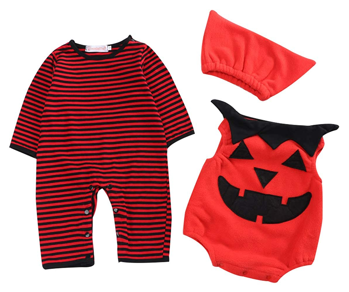 cool elves - Mameluco Halloween Traje de 3 pcs Formado de Calabaza para Bebés Recien Nacido Mono Jumpsuit Manga Larga para Fiesta Carnaval