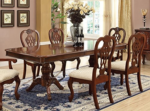 Home Source 50902094 Cambridge Collection Asian Hardwood Dining Room Set, 90 by 72 by 42-Inch, Cherry/Beige Cherry Wood Rectangular Dining Table
