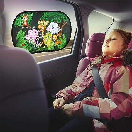 Fealing Sonnenschutz Auto Für Baby Mit Uv Schutz 2 Stück 51 31cm Selbsthaftende Sonnenblenden Für Kinder Sonnenblende Für Seitenscheiben Autofenster Wildlife Auto