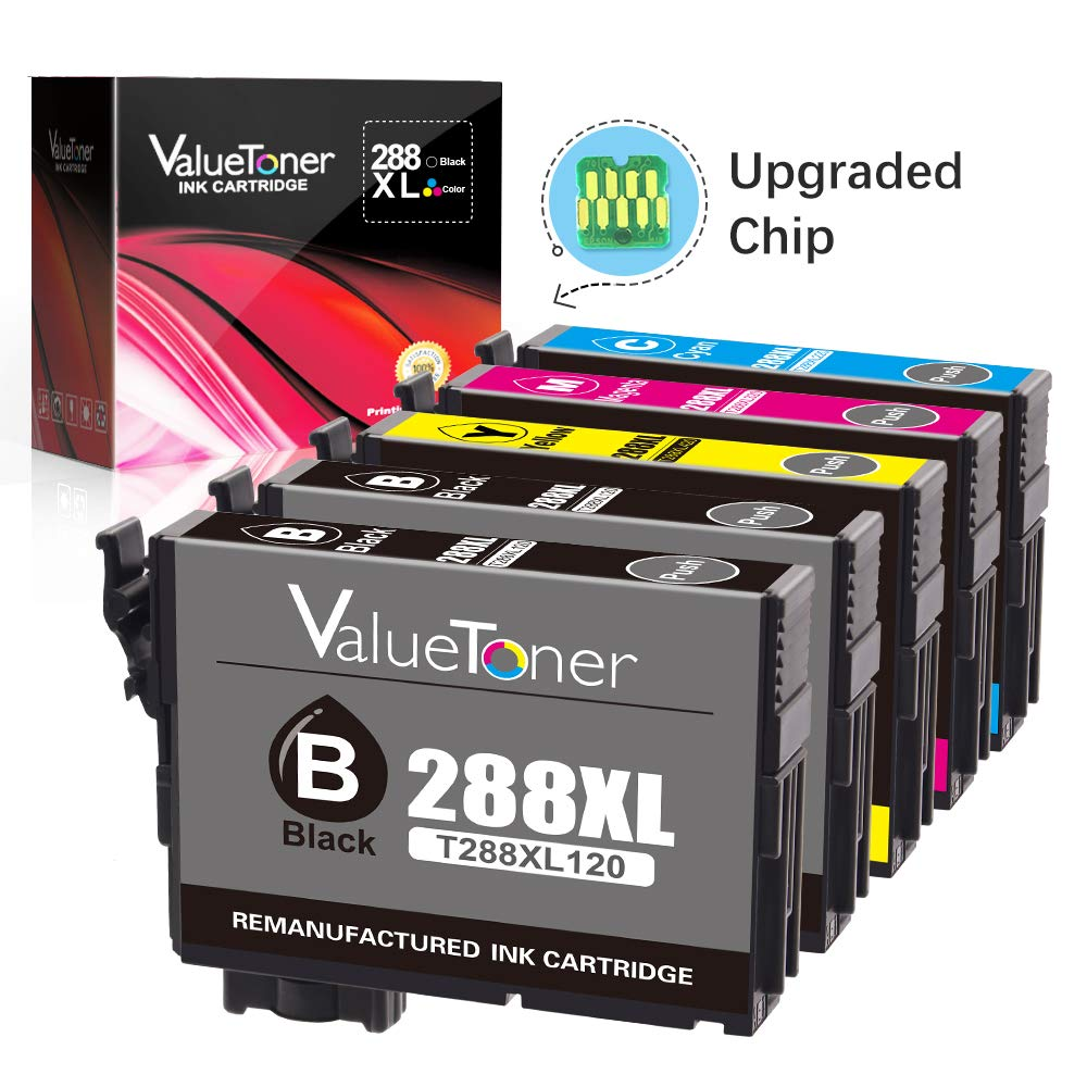 Valuetoner T288XL Replacement for Epson 288XL 288 XL Remanufactured Ink Cartridge for Epson Expression XP-340 XP-440 XP-330 XP-430 XP-434 XP-446 Printer(2 Black, 1 Cyan, 1 Magenta, 1 Yellow)