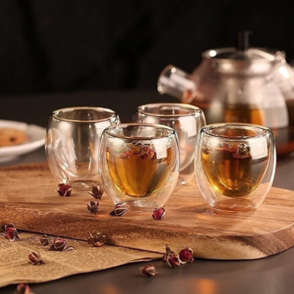 JTMYZTAA 4Pcs 80ml Tazas de caf/é Espresso de Vidrio con Aislamiento de Doble Pared Beber t/é Latte Tazas de caf/é Taza para Beber