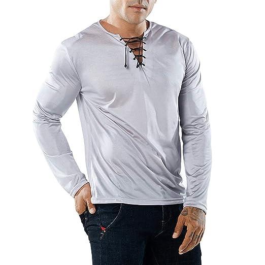 Camiseta de manga larga para hombre Cuello de los hombres ...