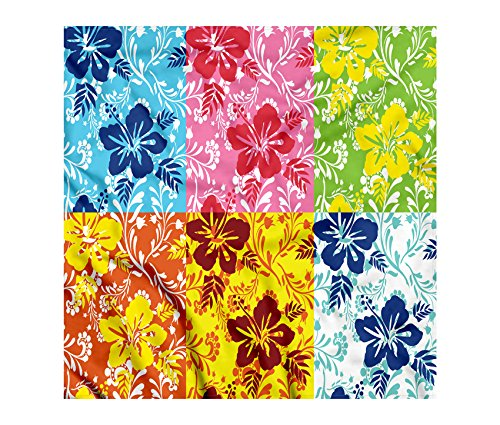 Hawaiian Bandana by Lunarable, Tropical Colorful Blooming Hibiscus Flower Summer Themed Pattern with Leaves, Printed Unisex Bandana Head and Neck Tie Scarf Headband, 22 X 22 Inches, Blue Pink Green Hawaiian Bandana