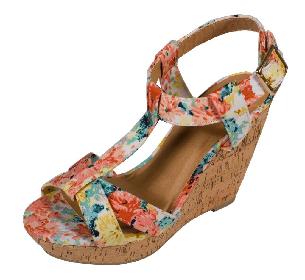 Delicious Johanna! Women's Peep Toe T-Strap Slingback Platform Wedge Sandals B014TELW7W 8.5 B(M) US|Peach Flower Fabric