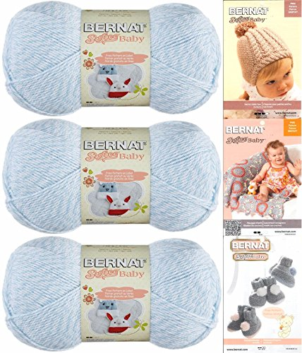 Bernat Denim Yarn - Bernat Softee Baby Yarn 3 Pack Bundle Includes 3 Patterns DK Light Worsted (Denim Marl)