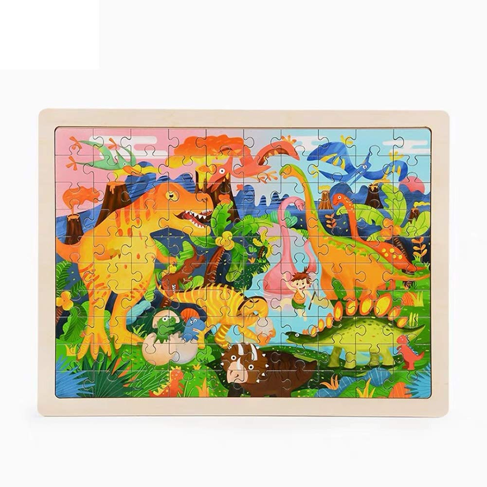 Ocamo 100Pcs/Set Puzzles Board Learning Educational Interesting Wooden Toys for Kids Girls Boys Dinosaur Puzzle