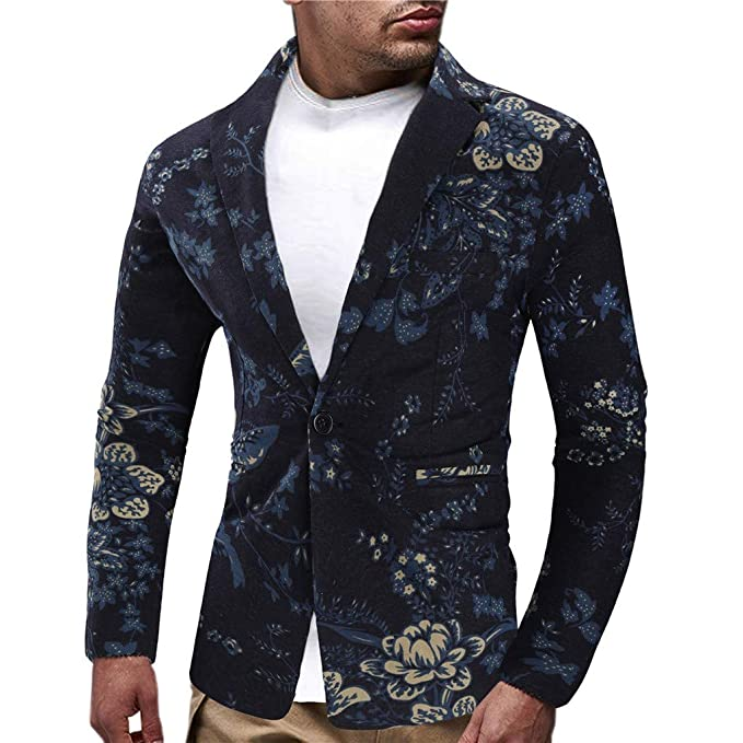 Tosonse Chaqueta para Hombre Vestido Estampado Étnico Vintage ...