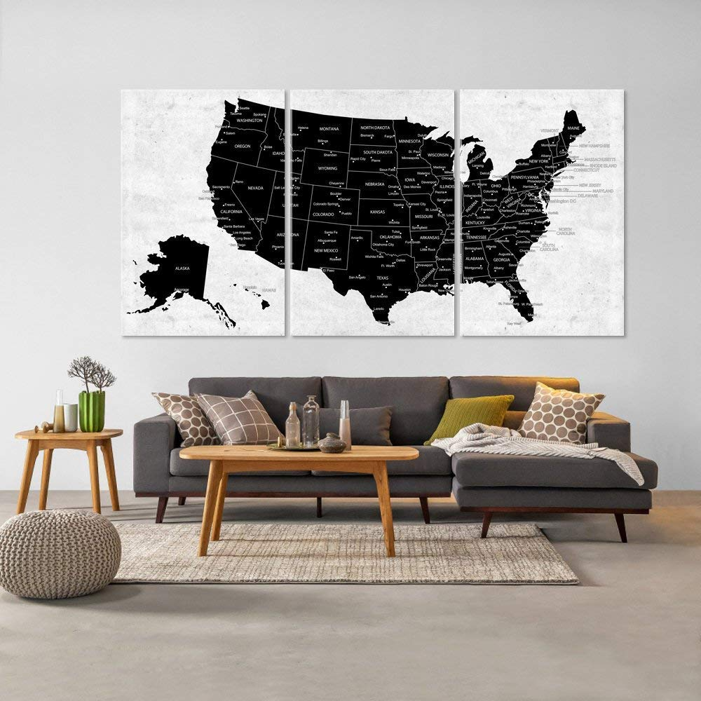 Amazon.com: US Map Canvas Wall Art, Black AND White ...