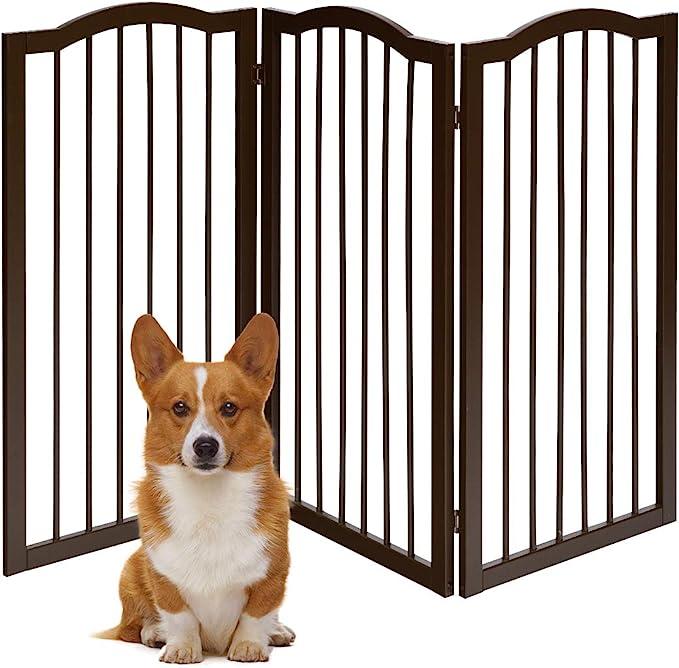 COSTWAY Barrera de Seguridad Plegable para Perros Valla Protección de Madera para Habitación Puerta Escalera Chimenea (153 x 93 x 2 cm): Amazon.es: Bebé
