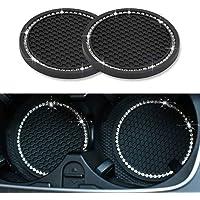 Ausget Universal Vehicle Bling Travel Auto Cup Holder Insert Coasters,2.75 Inch Crystal Rhinestone Car Interior…