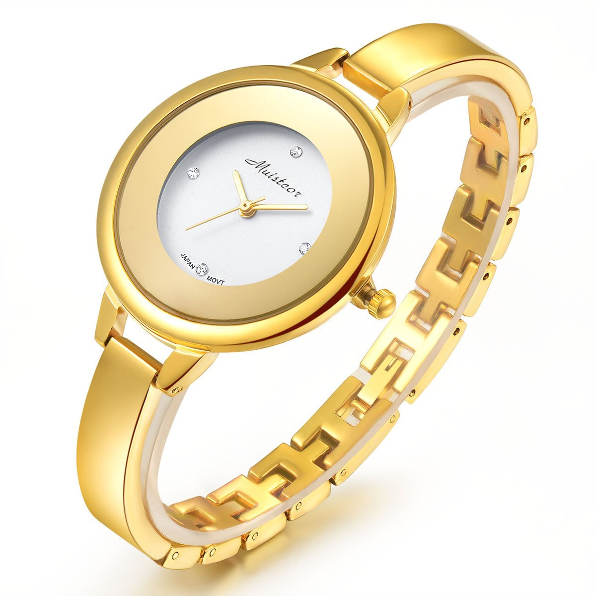 Chrysansmile Stainless Steel Wrist Watch for Women Luxury Gold-Tone Watch Analog Quartz Ladies Watches