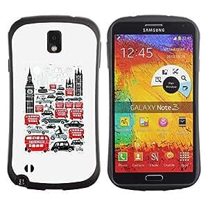 Suave TPU GEL Carcasa Funda Silicona Blando Estuche Caso de protección (para) Samsung Note 3 / CECELL Phone case / / Symbols Double Decker Big Ben /