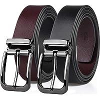 MEIRUIER Cuero Cinturón Reversible,Perfecto Regalo,Cinturon Hombre Cuero Negro Marrón Jeans Reversible Piel para Hombres…