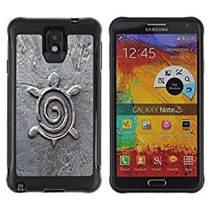 CashCase Rugged Hybrid Armor Slim Protection Case Cover Shell FOR Note 3 Case ,N9000 Leather Case ,Leather for Note 3 ,Case for Note 3 ,Note 3 case / Turtle Lime Pattern Cute White Art Animal /