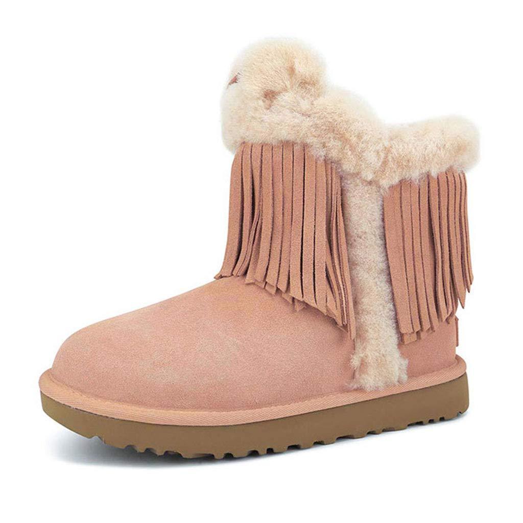ブーツ靴レディーススノーブーツブーツカジュアルシューズ防水スノーブーツノンスリップシューズ 安全保護用品 (Color : Pink, Size : 40) Pink B07JHLN9MJ