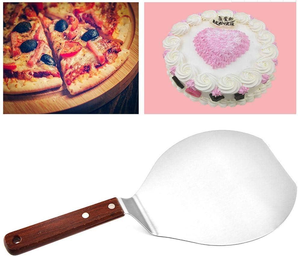 rund Ofen und Grill Pizzaschieber mit Holzgriff Pizza-Kuchenschaufel aus Edelstahl Kuchenheber zum Backen auf Pizzastein