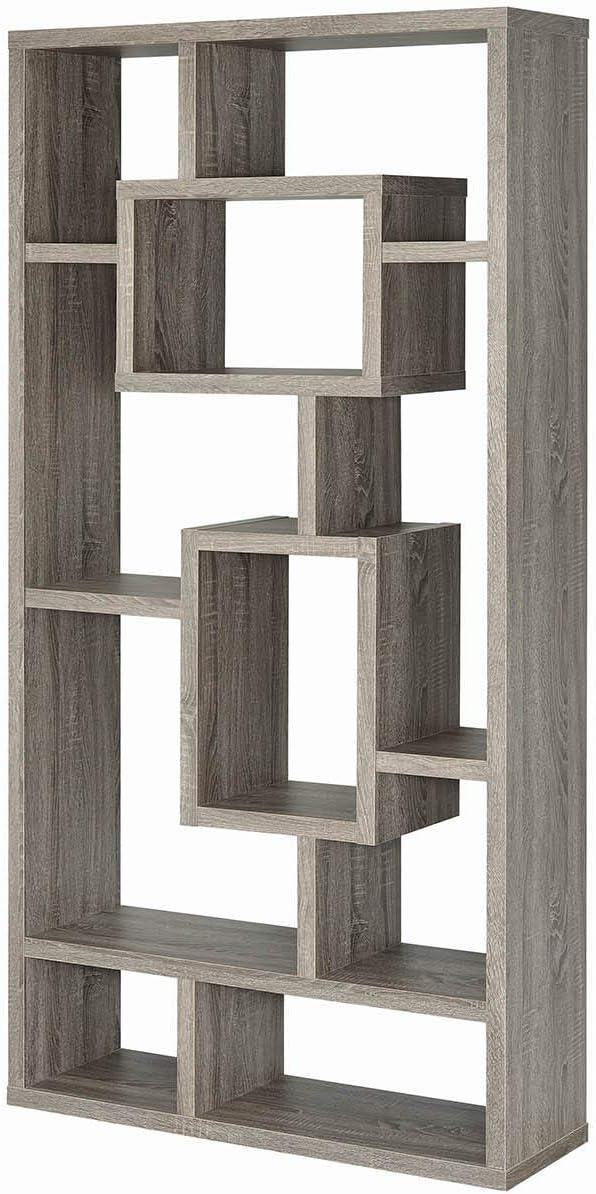 Coaster Home Furnishings Geometric Cubed Rectangular Bookcase, 11.5 D x 35.5 W x 70.75 H, Weathered Grey