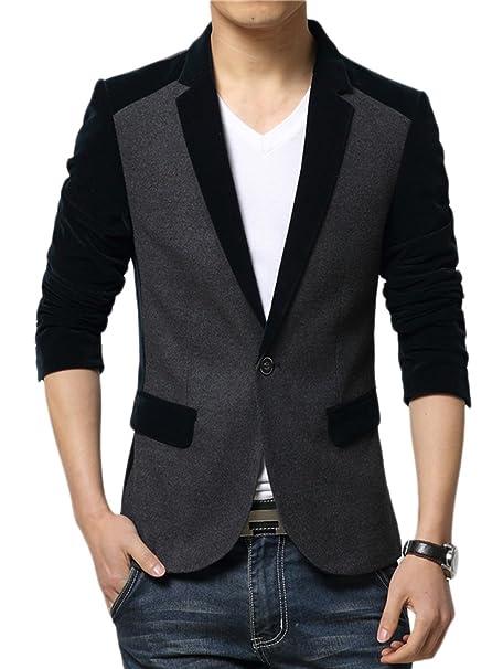 Insun Hombre Blazer Chaqueta Slim Para Hombre Estilo Casual Con Dos Botones: Amazon.es: Ropa y accesorios
