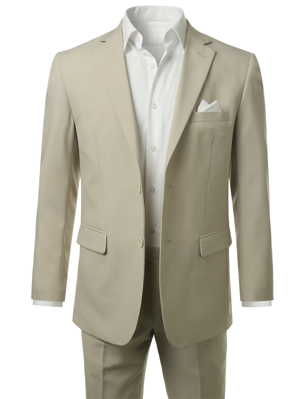 MONDAYSUIT Mens Two-Piece Slim-Fit Solid Two-Button Blazer Jacket & Trouser