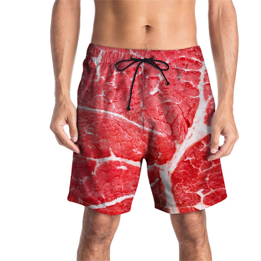 Color : Red, Size : M Kindlov-clos Men Quick Dry Swim Shorts Mens Slim Fit Quick Dry Swim Shorts Creative 3D Printing Swim Trunks Mens Bathing Beach Shorts Swim Trunks Bathing Suits for Men