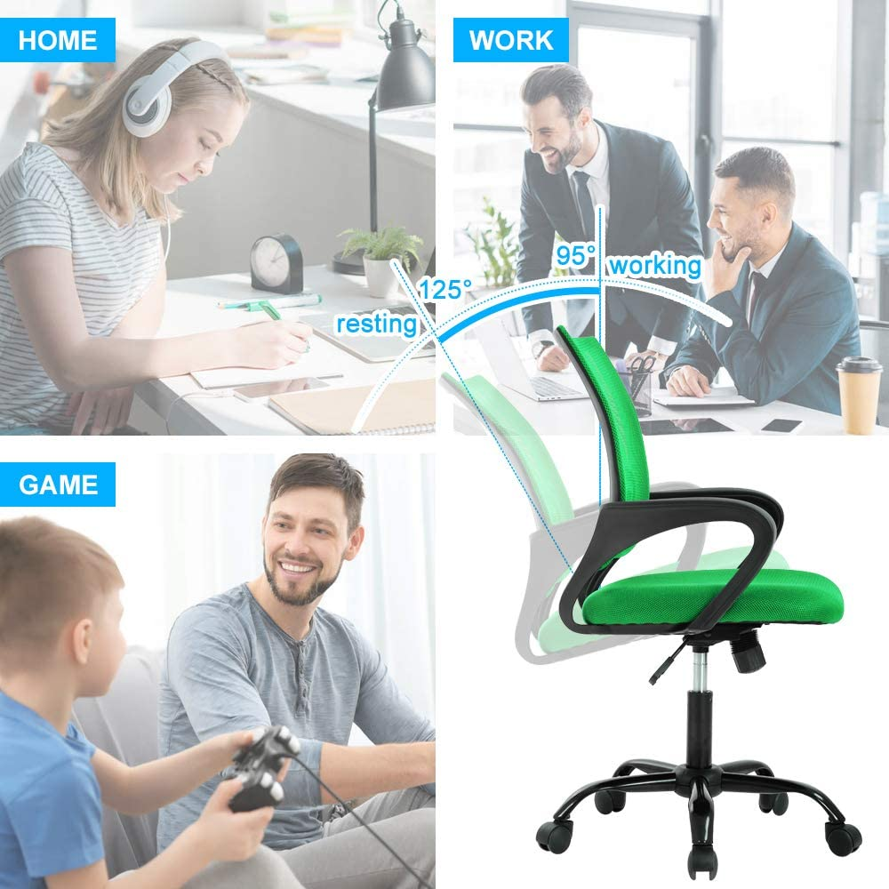 Ergonomic Office Chair,Mid Back Home Office Chair Mesh Office Chair with Lumbar Support Adjustable Computer Chair Task Rolling Swivel Chair Black Desk Chair with Arms for Working,Meeting