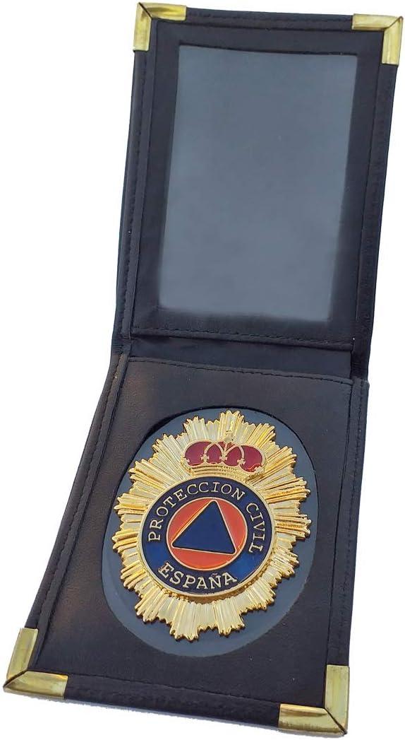 Tiendas LGP- Cartera Portaplaca de Piel- Protección Civil, Billetera, Color Negro: Amazon.es: Equipaje