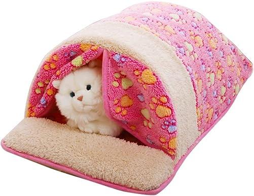 Dora Bridal Pet Cat Sleeping Bag, Cat House Self-Warming Comfortable Cat Bed Pet Sleep Bag Tent House, Cute Claw Soft Warm Cat Cuddle Nest, Detachable, Washable, Pink