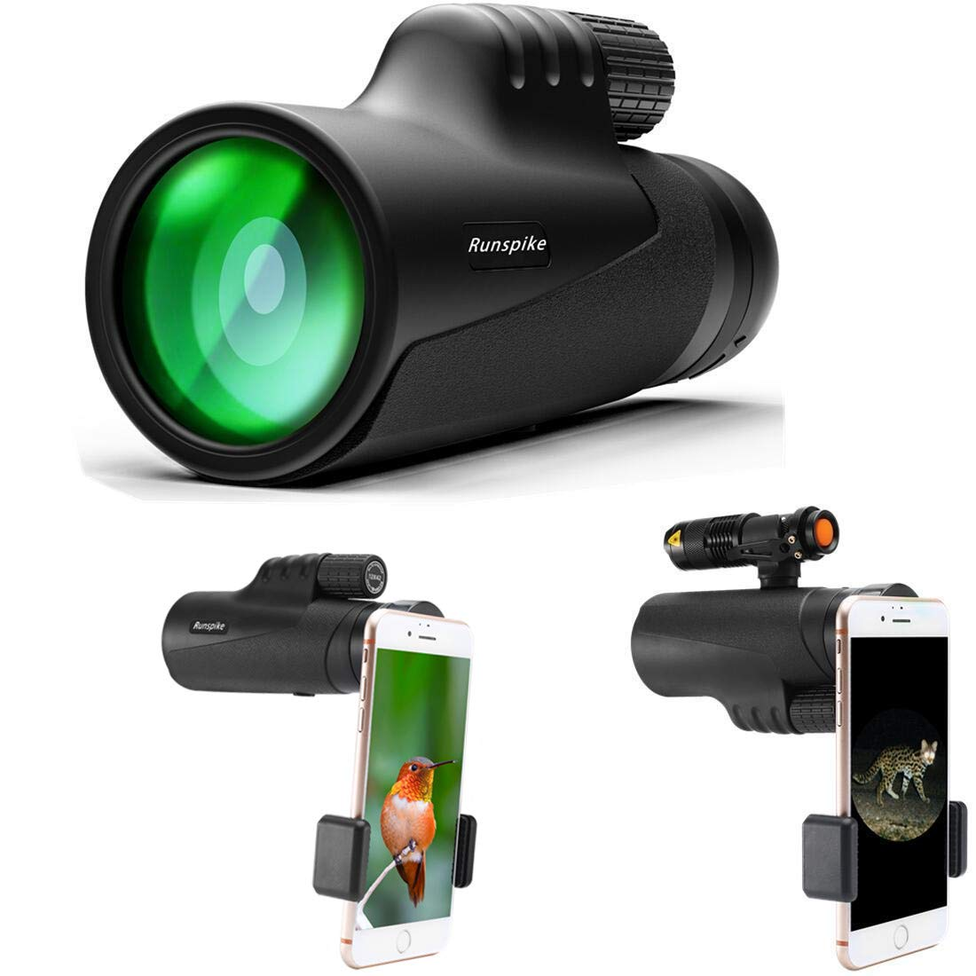 Monocular Telescope, 12X42 High Power Prism Monocular Focus Waterproof Spotting Scopes, Night Vision with Smartphone Holder and Fill Light- BAK4 Prism FMC for Bird Watching Hunting Camping Travelling by RUNSPIKE