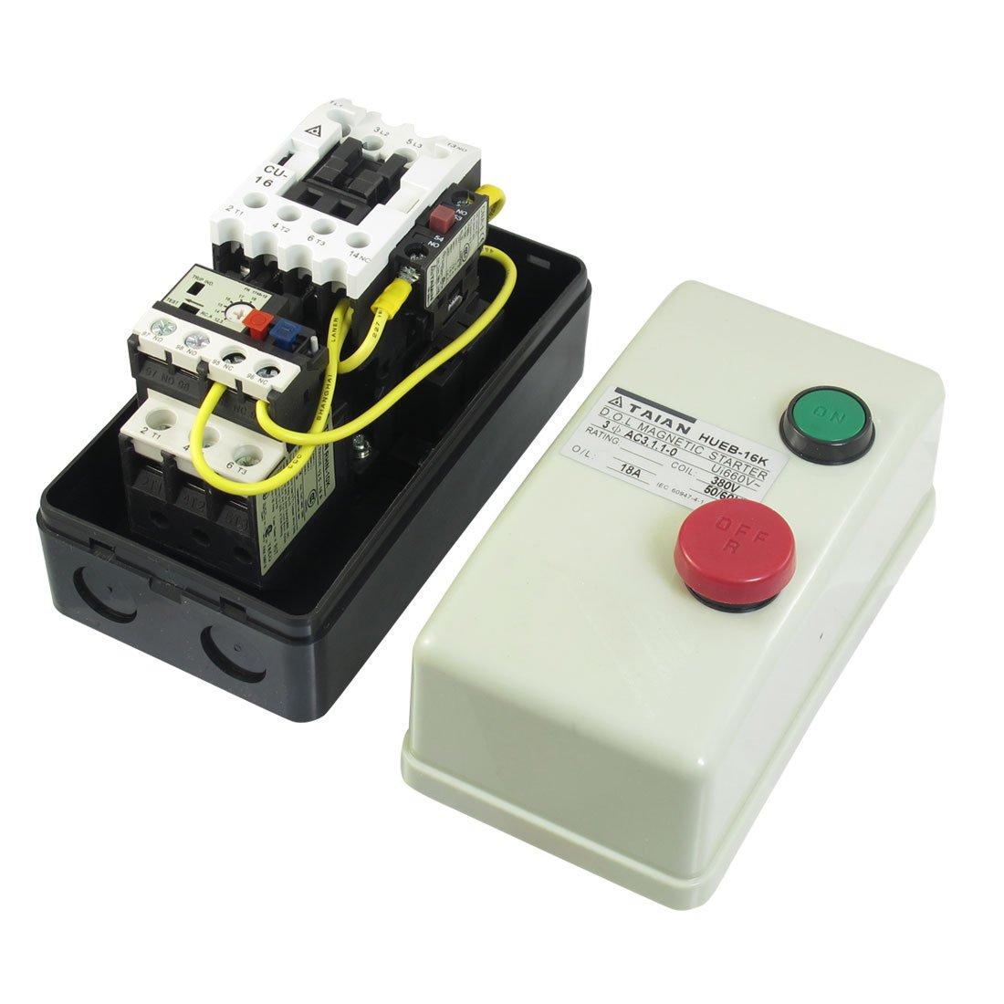 IIVVERR On Off Switch Enclosed 3 Pole Motor Magnetic Starter 380V Coil 12.5-18A (Encendido Apague el interruptor del motor de 3 polos del arrancador magnético 380V Bobina 12.5-18A