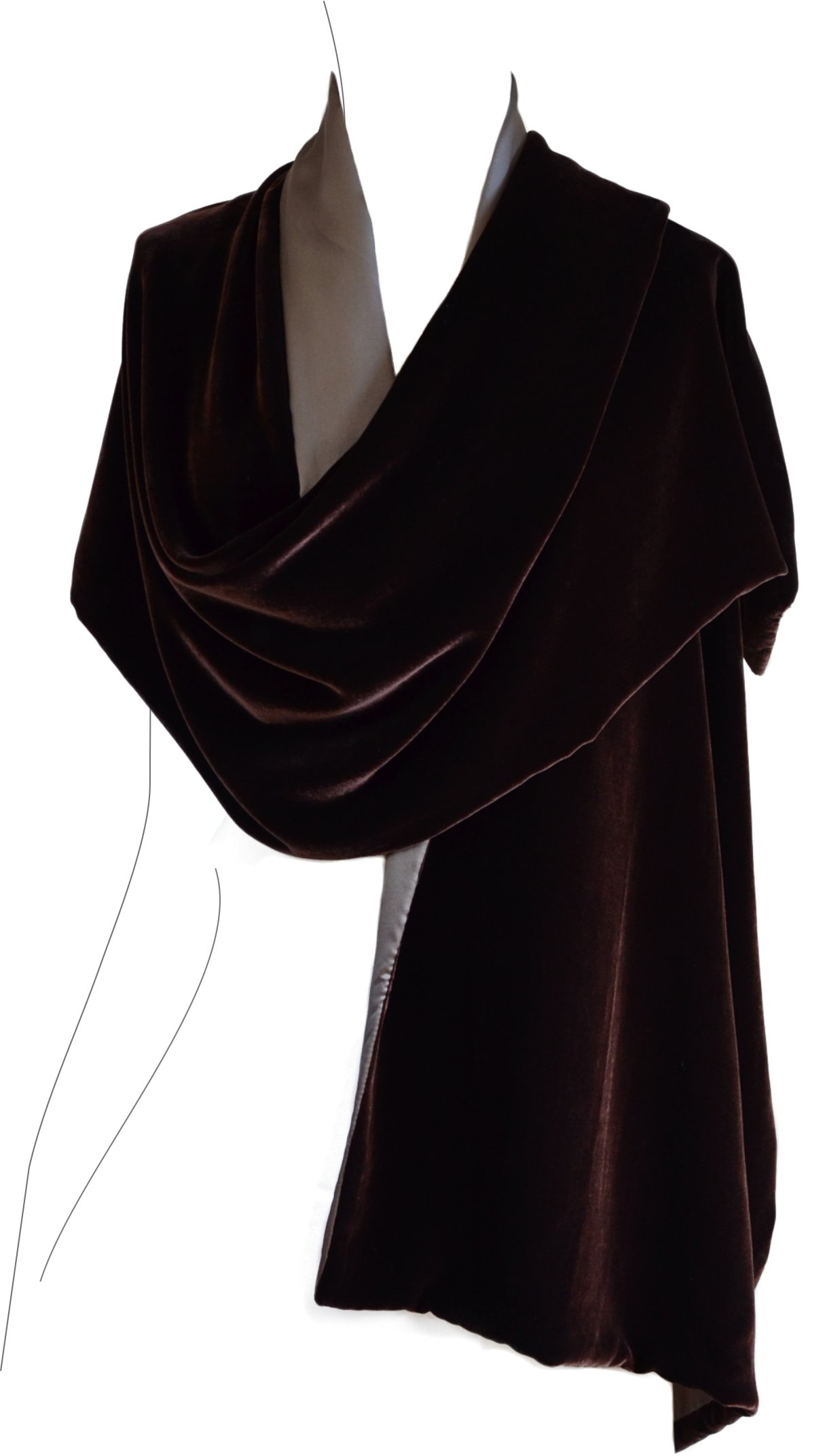 Luxury Silk Base Velvet Stole,Silk Lining W/Embroidery,78''Lx21''W, Brown/taupe