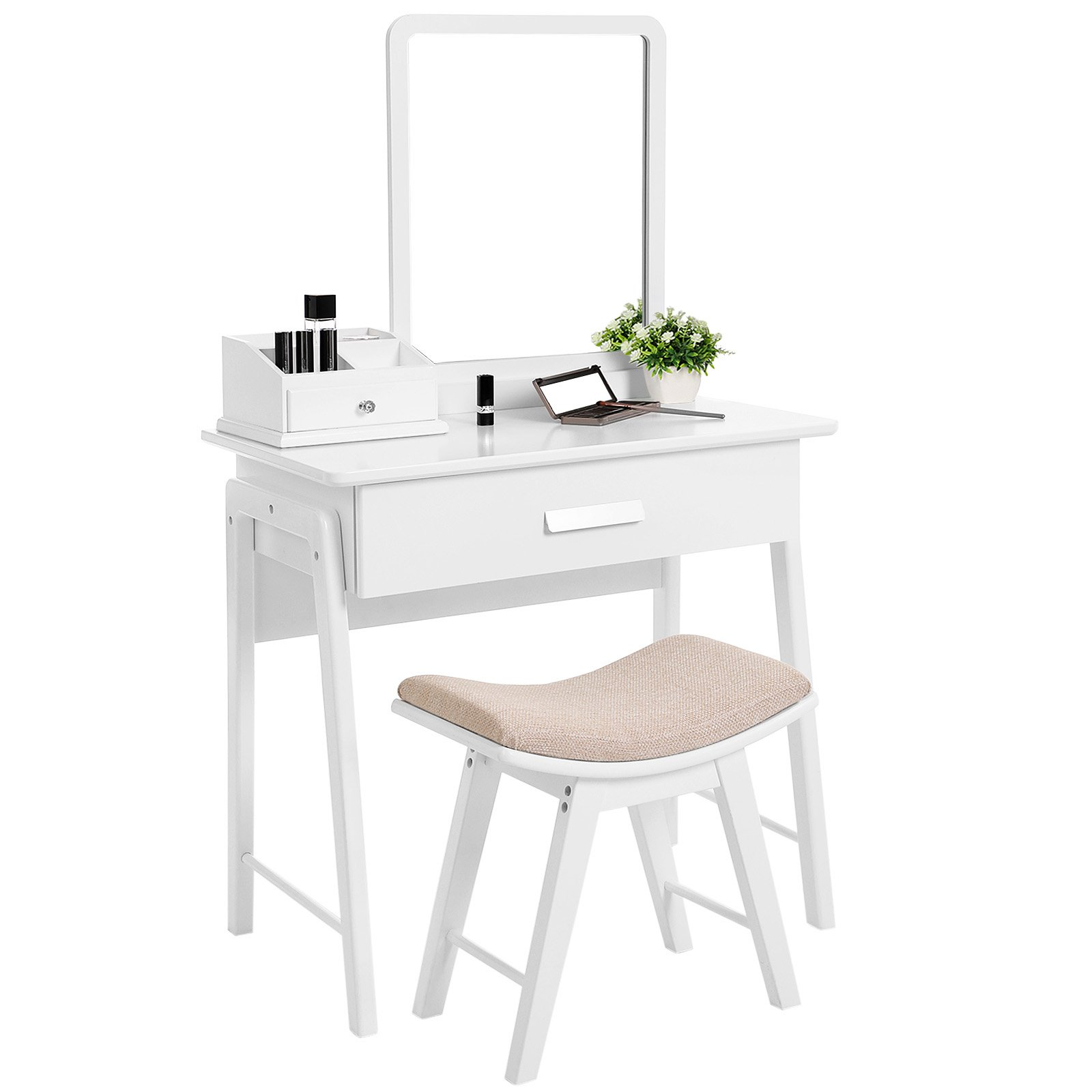 SONGMICS Vanity Table Set with Square Mirror and Makeup Organizer Dressing Table 1 Large Drawer with Sliding Rails White URDT21W