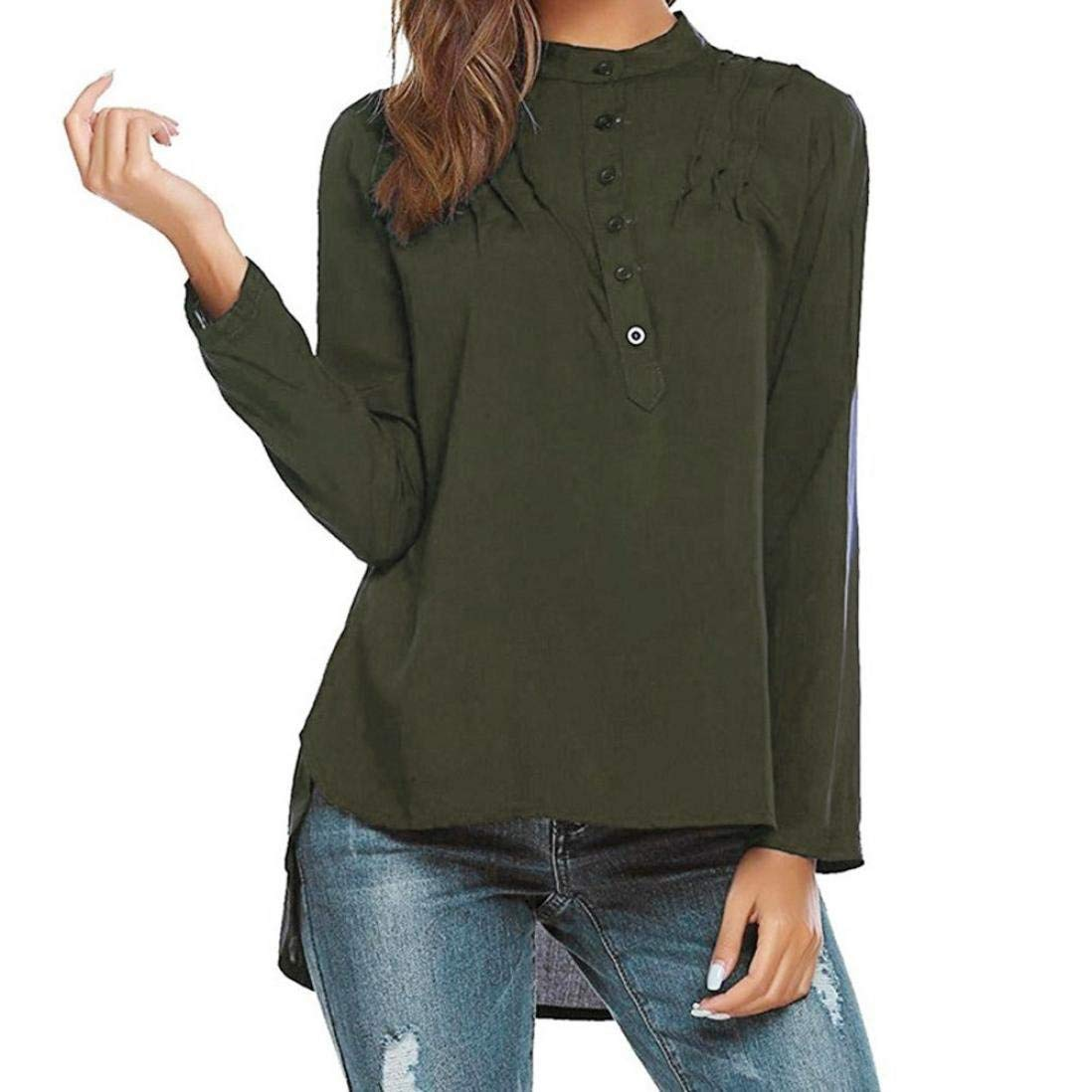 BRZM Fashion Hoodies Klassische Warm Sweatshirts Heiße Frauen-Bluse, Knopf-V-Hals-Damen-unregelmäßiges Hemd-Lange Hülsen-beiläufige Oberteile (Farbe : Green, Größe : XX-Large)