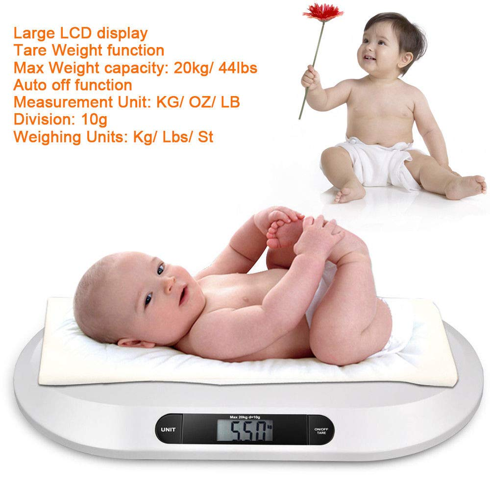 Baby Weight Scale, Smart Digital Comfort High Precision Baby Weight Scale with LCD Display 3 Weighing Mode 44 Pound(lbs) Capacity for Infants, Toddlers, Babies (USA Stock) by SHZICMY