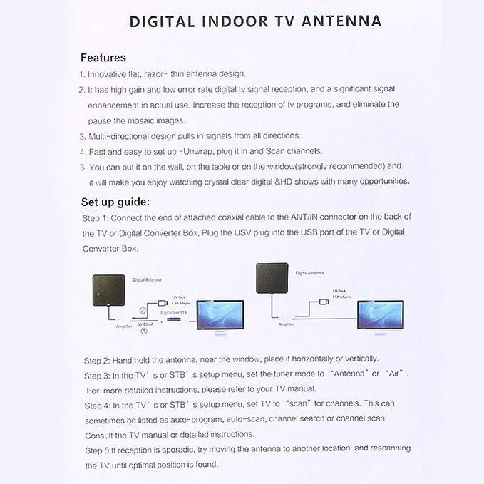 Antena de TV, Antena Interior HDTV 50 Millas Amplificador ...