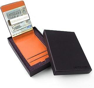 Distressed - Kreditkartenetui mit Edelstahl Geldklammer/Geldscheinklammer in Geschenkverpackung - orange
