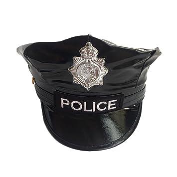 LUOEM Gorra de policía Cap Party Costume Badge Octogonal Cuero Capitán Negro Flat Top Stage Performance Gorras militares (Negro): Amazon.es: Juguetes y ...
