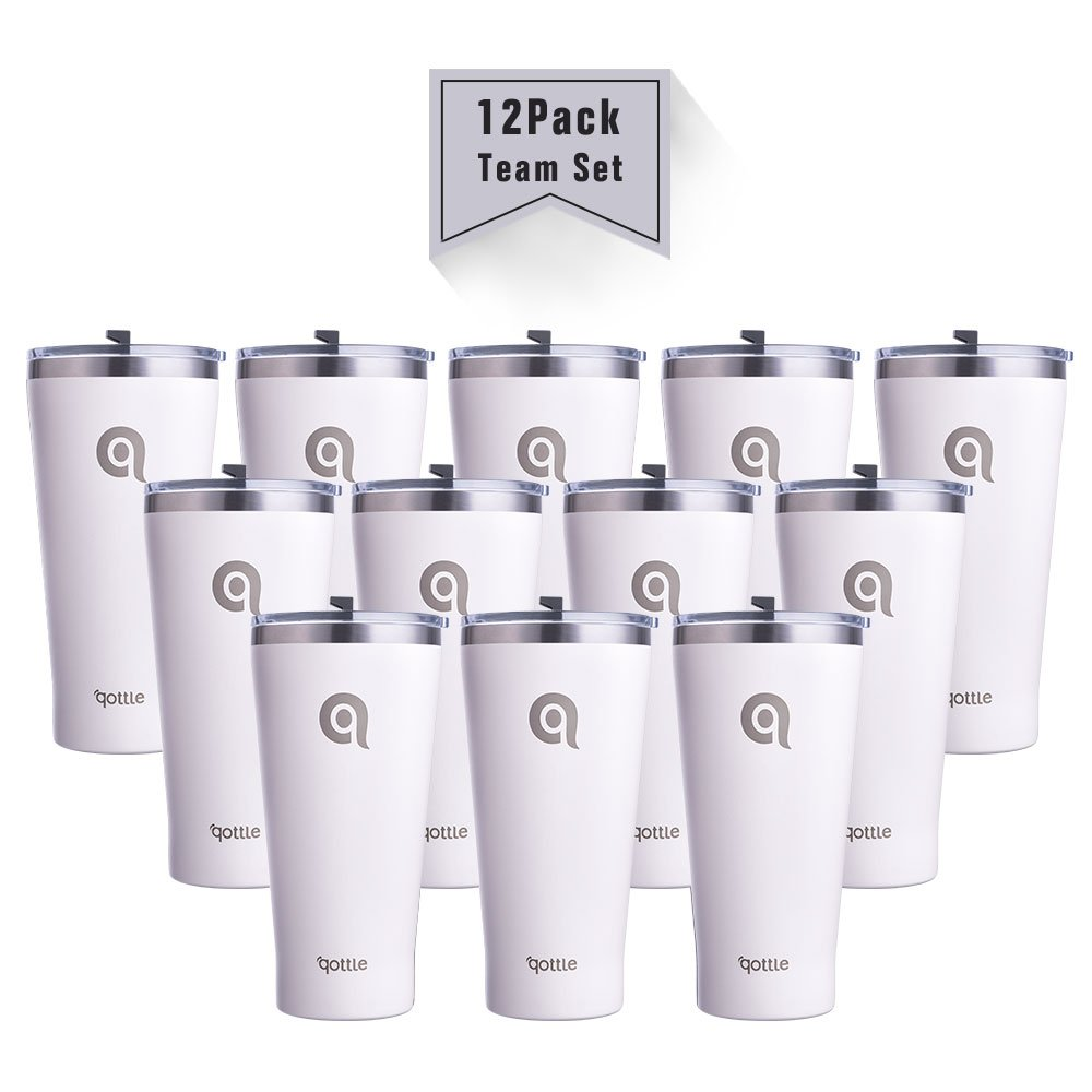 qottle 12pack 30oz Double Wall Vacuum Insulated Tumbler - Stainless Steel Travel Cup with Lid for Sport Outdoor Camping Hiking Picnic-White