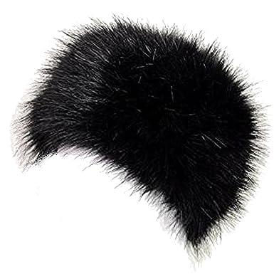 577d2a0d TOSKATOK LADIES WOMENS GLAMOROUS FAUX FUR RUSSIAN COSSACK HAT-BLACK: Amazon. co.uk: Clothing