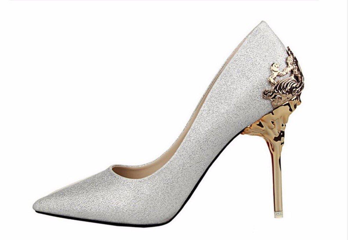 GTVERNH Damenschuhe/Kalte Füße Schuhe Schuhe Meine Schuhe Schuhe Hochzeit Schuhe Metall Ausgehöhlt Sagte Schuhe Schuhe mit Hohen Absätzen. silvery fc3666
