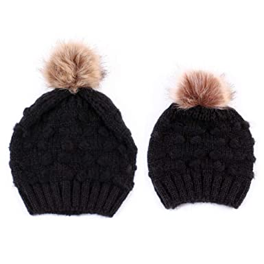 2pcs Winter Mom And Daughter Matching Knitted Beanie Cap Keep Warm Faux Fur