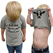 Sagton Ask me About My moo Cow, Toddler Kids Baby Boys T-Shirt Short Sleeve Tops Tees (Gray B, 3T)