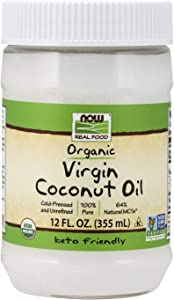 NOW Foods, Certified Organic Virgin Coconut Cooking Oil, Cold-Presesed and Unrefined, Trans Fat Free, 100% Pure and Certified Non-GMO, 12-Ounce