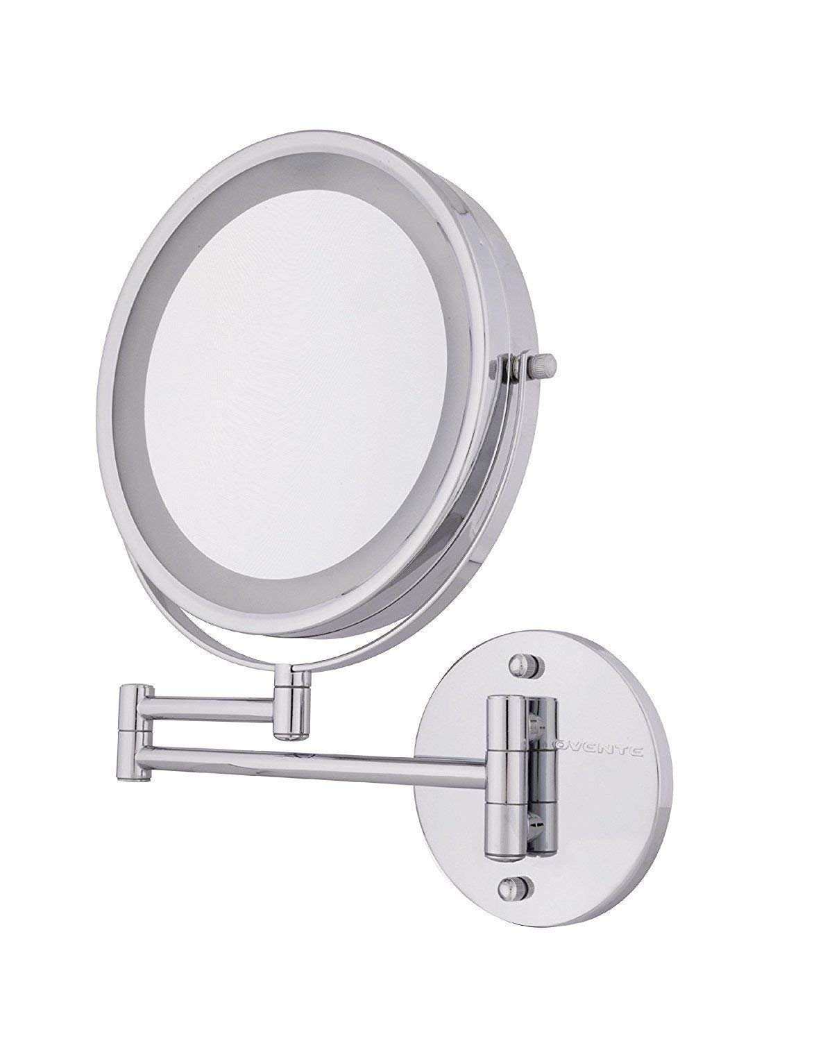 FAMLOVE LED Lighted Makeup Mirror Wall Mount 10x Magnification Cosmetic Mirror 8.5 Inch Lighting Vanity Makeup Mirror Extendable Double-Sided Chrome