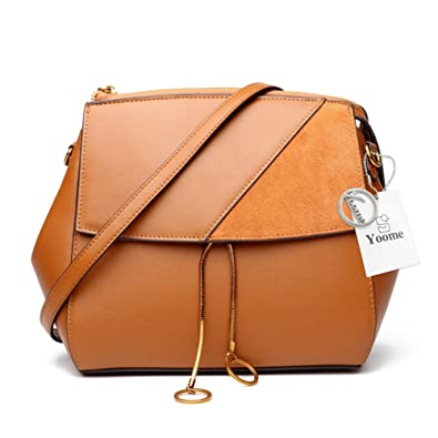 Herrlich Brown Synthetic Leather Punk Style Rivets Ladies Handbag Zipper Shoulder Bag Kleidung & Accessoires