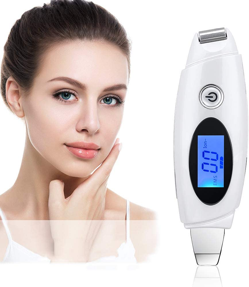 WODT LCD Ultrasonic Galvanic Ion Skin Scrubber Peeling Pore Cleanser EMS Face Lifting Whitening Rechargeable Facial Cleansing Device